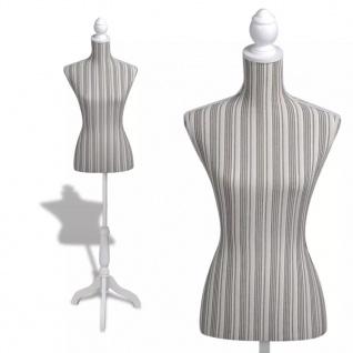 Damenbüste Schneiderpuppe Büste Torso Mannequin Leinen mit Streifen