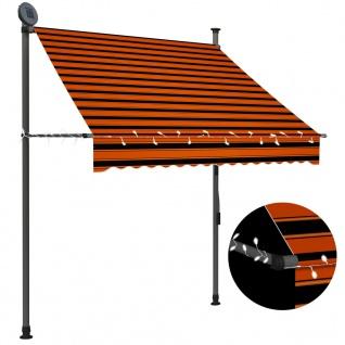 vidaXL Einziehbare Markise Handbetrieben mit LED 150 cm Orange Braun