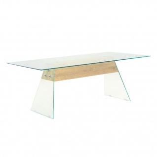 vidaXL Couchtisch MDF und Glas 110 x 55 x 40 cm Eichenoptik