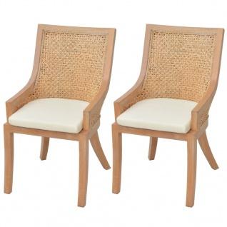 vidaXL Esszimmerstühle 2 Stk. Rattan und Mango Massivholz