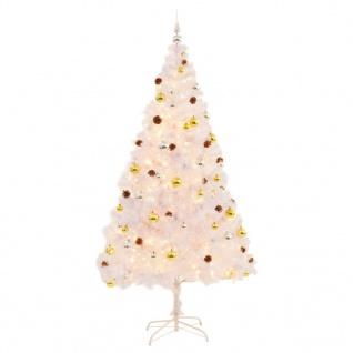 vidaXL Künstlicher Weihnachtsbaum Geschmückt Kugeln LEDs 210 cm Weiß