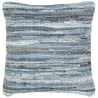 vidaXL Kissen Denim Chindi Blau 60 x 60 cm Baumwolle