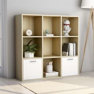vidaXL Bücherregal Weiß und Sonoma-Eiche 98 x 30 x 98 cm Spanplatte