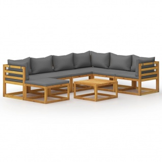 vidaXL 8-tlg. Garten-Lounge-Set mit Auflagen Massivholz Akazie