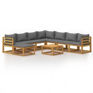 vidaXL 9-tlg. Garten-Lounge-Set mit Auflagen Massivholz Akazie