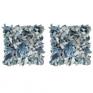 vidaXL Kissen 2 Stk. Denim Hochflor Blau 45x45 cm Leder und Baumwolle