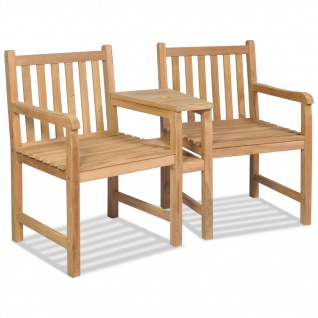 vidaXL Gartenstühle 2 Stk. Teak mit Sonnenschirmloch