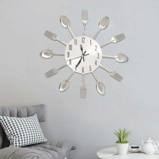 vidaXL Wanduhr mit Löffel und Gabel Design Silbern 31 cm Aluminium