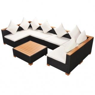 vidaXL 7-tlg. Garten-Lounge-Set mit Auflagen Poly Rattan Schwarz - Vorschau 4