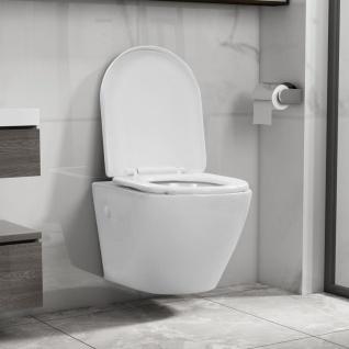 vidaXL Wand-WC ohne Spülrand Keramik Weiß