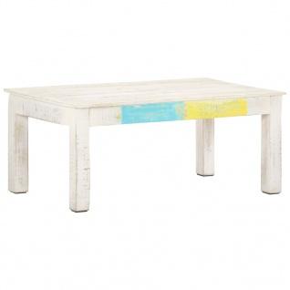 vidaXL Couchtisch Weiß 110x60x45 cm Massivholz Mango