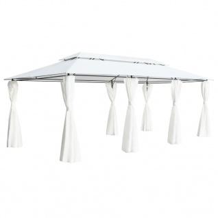 vidaXL Pavillon mit Vorhängen 600 x 298 x 270 cm Weiß