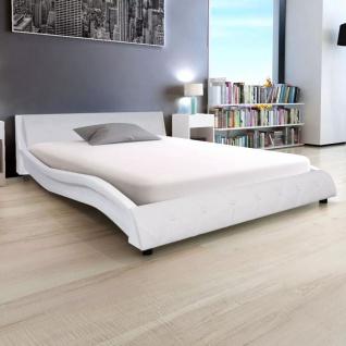 vidaXL Bett mit Matratze Kunstleder 140x200 cm weiß