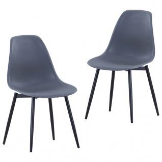 vidaXL Esszimmerstühle 2 Stk. Grau PP