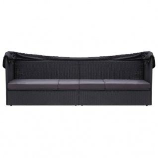 vidaXL Outdoor-Sofabett mit Sonnendach Poly Rattan Schwarz - Vorschau 2