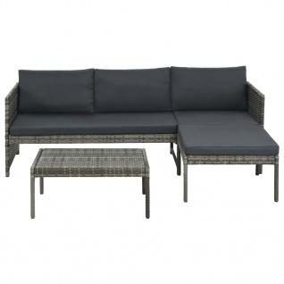 vidaXL 3-tlg. Garten-Lounge-Set mit Auflagen Poly Rattan Grau - Vorschau 2