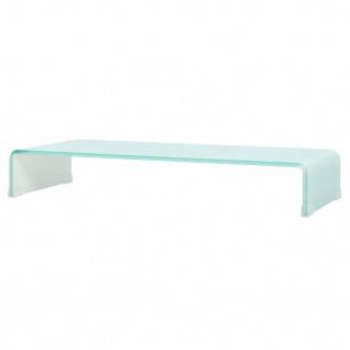 vidaXL TV-Tisch/Bildschirmerhöhung Glas Weiß 90x30x13 cm