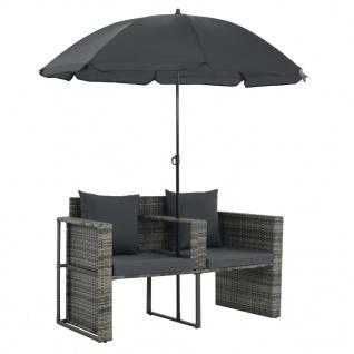 vidaXL 2-Sitzer-Gartensofa mit Auflagen und Sonnenschirm Grau Poly Rattan - Vorschau 5