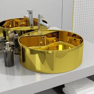 vidaXL Waschbecken mit Überlauf 46, 5 x 15, 5 cm Keramik Golden
