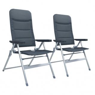 vidaXL Garten-Liegestühle 2 Stk. Aluminium Grau
