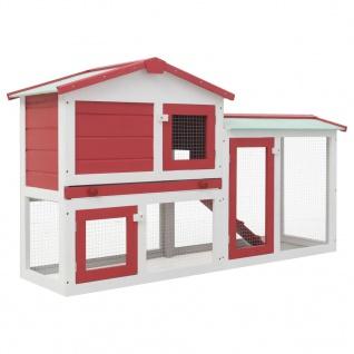 vidaXL Großer Kaninchenstall Rot und Weiß 145 x 45 x 85 cm Holz