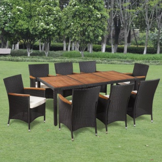 vidaXL 9-tlg. Garten-Essgruppe mit Auflagen Poly Rattan