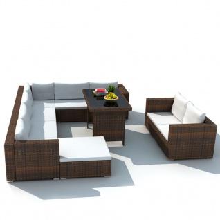 vidaXL 10-tlg. Garten-Lounge-Set mit Auflagen Poly Rattan Braun - Vorschau 2