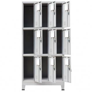 vidaXL Schließfachschrank mit 9 Fächern Stahl 90x45x180 cm Grau - Vorschau 4
