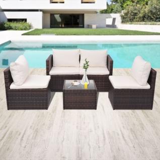 vidaXL 5-tlg. Garten-Lounge-Set mit Auflagen Poly Rattan Braun - Vorschau 1