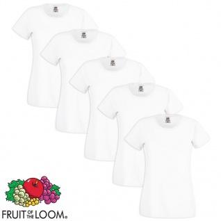 Fruit of the Loom Damen T-Shirt 5 Stk. Rundausschnitt Baumwolle Weiß S