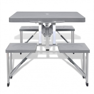 Klappbares Campingtisch-Set Aluminium mit 4 Stühlen extra leicht grau - Vorschau 3
