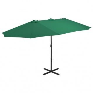 vidaXL Sonnenschirm mit Aluminium-Mast 460 x 270 cm Grün