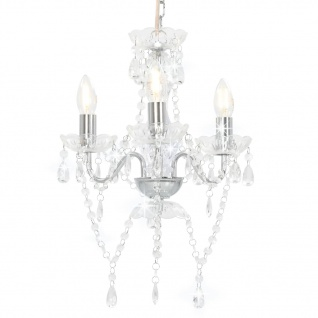 vidaXL Kronleuchter mit Perlen Silbern Rund 3ßE14