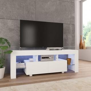 vidaXL TV-Schrank mit LED-Leuchten Hochglanz-Weiß 130 x 35 x 45 cm
