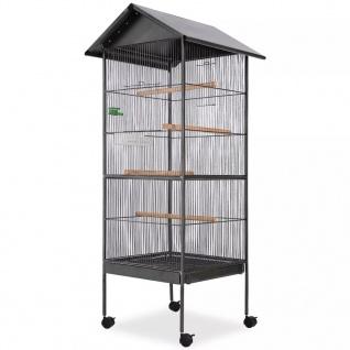 vidaXL Vogelkäfig mit Dach Stahl Schwarz 66x66x155 cm