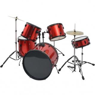 vidaXL Schlagzeug Komplettset Pulverbeschichteter Stahl Rot Erwachsene