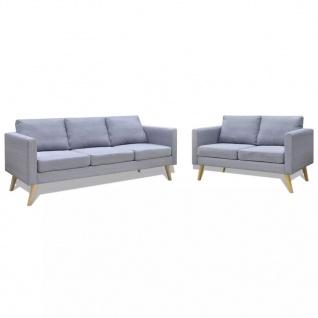 vidaXL Sofa Set 2-Sitzer und 3-Sitzer Stoff Hellgrau