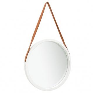 vidaXL Wandspiegel mit Riemen 50 cm Weiß