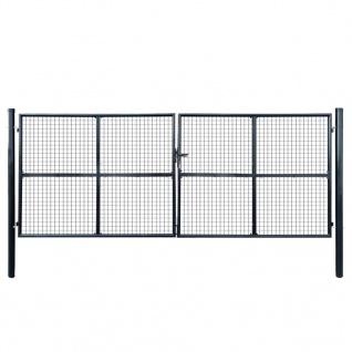 vidaXL Mesh-Gartentor Verzinkter Stahl 400 x 150 cm Grau