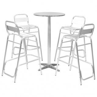 vidaXL 5-tlg. Bar-Set mit Rundem Tisch Silbern Aluminium