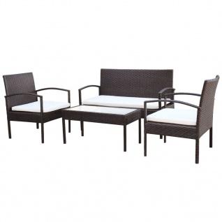 vidaXL 4-tlg. Garten-Lounge-Set mit Auflagen Poly Rattan Braun - Vorschau 2