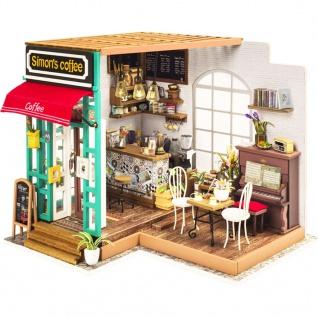 Robotime Miniatur Bausatz Simon's Coffee mit LED-Beleuchtung