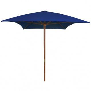 vidaXL Sonnenschirm mit Holzmast Blau 200x300 cm