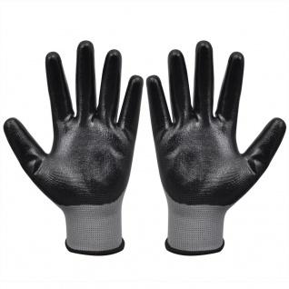 vidaXL Arbeitshandschuhe Nitril 24 Paar grau und schwarz Gr. 8/M - Vorschau 2