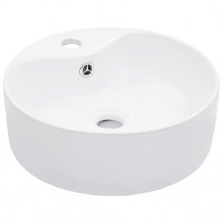 vidaXL Waschbecken mit Überlauf 36 x 13 cm Keramik Weiß