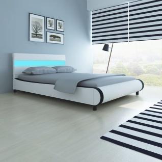 Bett mit LED-Leiste am Kopfteil + Memory-Matratze 140 cm