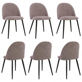 vidaXL Esszimmerstühle 6 Stk. Rosa Stoff