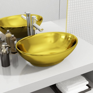 vidaXL Waschbecken 40 x 33 x 13, 5 cm Keramik Golden