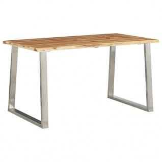 vidaXL Esstisch 140×80×75 cm Akazie Massivholz und Edelstahl