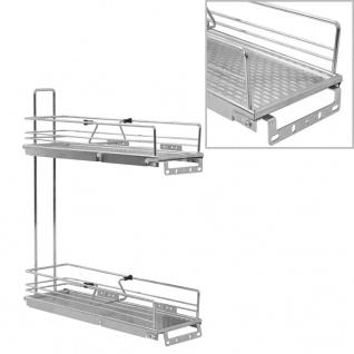 vidaXL 2-stufiger Ausziehbarer Küchen-Drahtkorb Silbern 47x15x54, 5 cm